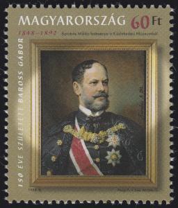 Ungarn: Gemälde von Miklós Barabás: Politiker Baross Gábor 1998, Marke **