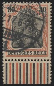 89IIx Germania 30 Pf. vom Unterrand, Walzendruck, gestempelt O