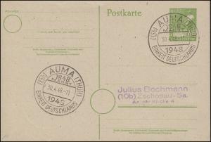 SBZ Postkarte P 961 SSt AUMA / THÜR. 1848 Mahnt Einheit Deutschlands 30.4.1948
