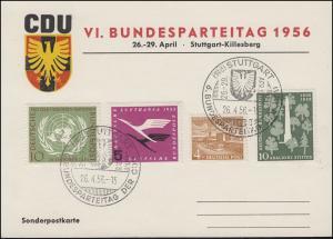 Sonderkarte VI. CDU-Bundesparteitag mit Berlin-Bund MiF, SSt STUTTGART 26.4.1956