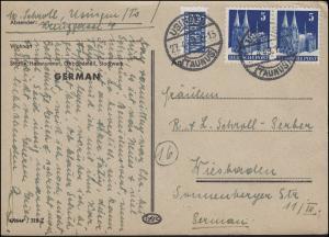 75wg Bauten-Paar mit Notopfer MeF Postkarte USINGEN / TAUNUS 27.4.49