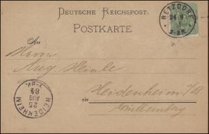 39 Ziffer 3 Pfennig EF auf Postkarte BETZDORF 24.8.1884 nach HEIDENHEIM 25.8.84