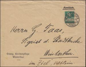 Tell mit Armbrust 10 C. EF Orts-Brief Evang. Kirchenpflege WINTERTHUR 27.9.1928