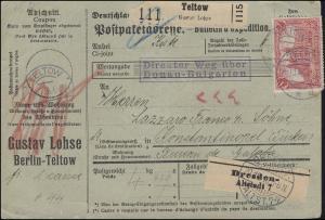 95BII und 87II auf Paketkarte von TELTOW 19.10.16 nach Konstantinopel Galata