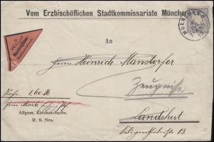 Bayern: 20 Pf. Wappen EF NN-Bf. Erzbischöfliches Stadtkommisariat MÜNCHEN 6.8.10