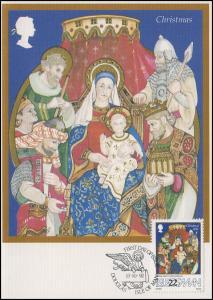 Isle of Man: Weihnachten 1992, Klappkarte Heilige Familie ESSt Douglas 13.10.92
