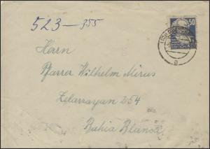 224 Karl Marx 50 Pf EF Auslands-Brief Dresden 9.1.50