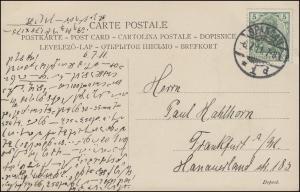 Germania 5 Pf. EF auf AK Neugierige Mädchen, SPANDAU 6.7.1911 nach Frankfurt/M.