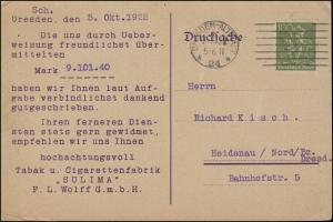 Überweisungsmitteilung Tabak & Zigarettenfabrik Sulima DRESDEN-ALTST. 7.10.1922