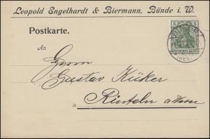 Germania 5 Pf EF Postkarte Papierbestellung BÜNDE / WESTF. 4.3.1911 nach Rinteln