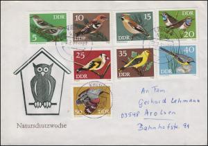 DDR 1834-1841 Singvögel, Satz auf Brief Naturschutzwoche KRUMPA 3.7.73