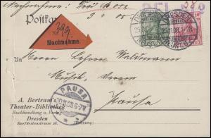 Germania 10+5 Pf. MiF NN-Postkarte Theater-Bibliothek DRESDEN ALTST. 29.11.08