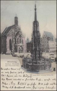 Ansichtskarte Nürnberg - Brunnen / Frauenkirche EF 5 Pf. NÜRNBERG 1. - 31.8.99