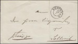 Preußen Dienstbrief Briefhülle KEMPEN AM RHEIN 27.7. nach Lobberich