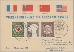 Sonderkarte VIERERKONFERENZ DER AUSSENMINISTER passender SSt BERLIN 25.1.54