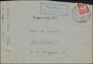 Landpost Rathen über WADERN (SAAR) LAND 21.11.1950, Brief nach Saarbrücken