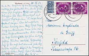 125 Posthorn 5 Pf senkrechtes Paar + Notopfer MeF Ansichtskarte Marburg 21.7.54