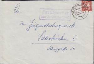 Landpost Furschweiler über ST. WENDEL 14.11.1950 auf Brief nach Saarbrücken