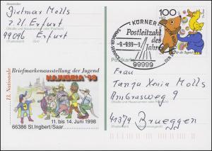 Postleitzahl des Jahres 1999: 99999 Körner 9.9.99-9 auf PSo 53 NAJUBRIA'98