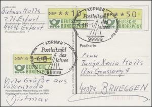 Postleitzahl des Jahres 1999: 99999 Körner 9.9.99-9 auf Postkarte mit 3 ATM