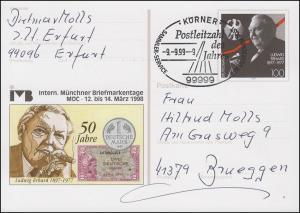 Postleitzahl des Jahres 1999: 99999 Körner 9.9.99-9 auf PSo 51 Messe München