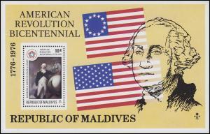 Malediven: Jahrestag Unabhängigkeit der USA Washigton & Sternenbanner, Block **