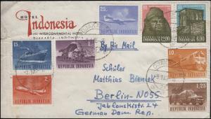 Indonesien Transportmittel und UNESCO-Bauwerke Nubian auf Brief DJAKARTA 9.1.65