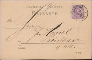 40II Ziffer 5 Pfennig EF auf Postkarte SCHWEDNITZ 8.11.1888 nach Patschkau