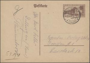 Saargebiet Postkarte P 25 Kaserne, DILLINGEN (SAAR) 3.3.1931 nach Dresden