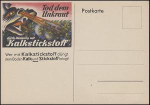 Werbe-Postkarte Tod dem Unkraut durch Düngung mit Kalkstickstoff, ungebraucht