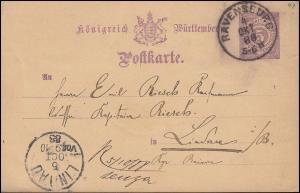 Württemberg Postkarte P 26II von RAVENSBURG 4.10.1888 nach LINDAU 5.10.88