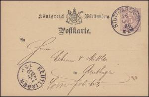 Württemberg Postkarte P 20/03 von STUTTGART 26.10.1880 nach REUTLINGEN 27.10.