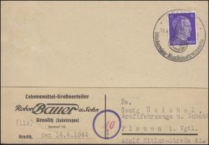 SSt GRASLITZ Musikinstrumente / Helikontuba, Strickwaren 14.4.1944 auf Postkarte