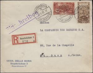 108+119 Landschaften MiF R-Brief SAARBRÜCKEN (ST. JOHANN) 30.1.33 nach St. Ouen