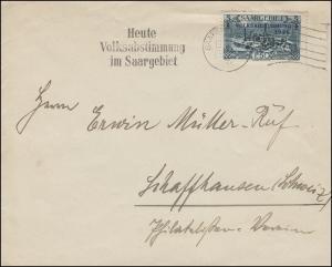 190 Freimarke EF auf Brief Heute Volksabstimmung ... SAARBRÜCKEN 13.1.1935