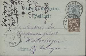 Postkarte P 43 mit DV 12 9 1 mit Zusatzfr., CANNSTATT 3.1.02 nach WINTERLINGEN