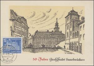 446 Saarbrücken Maximumkarte 50 Jahre Großstadt Rathaus ET-O SAARBRÜCKEN 1.4.59