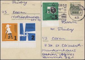 Postkarte Lorsch mit 4 Vignetten Sozialhilfe Krautheim, ESSEN Grugapark 6.5.66