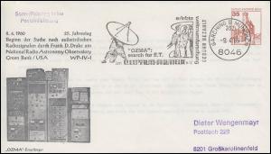 Privat-Umschlag PU 69 BuS 35 Pf OZMA-Empfänger GARCHING Weltraumforschung 9.4.85