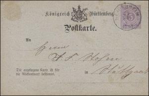 Postkarte P 21/01F von HEDENHEIM 26.5.1876 nach Stuttgart