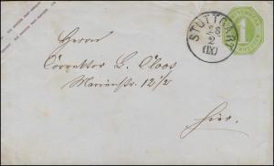Umschlag U 16 Ziffer 1 Kreuzer grün Einkreis STUTTGART (IX) 28.2. als Orts-Brief