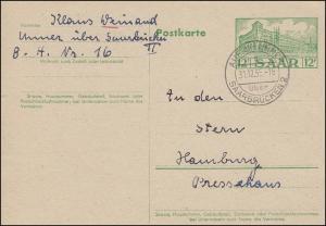 Saarland Postkarte P 41 Hauptpostamt, AUF der UNNER über SAARBRÜCKEN 31.12.1955