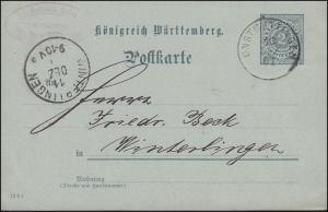 Postkarte P 43 mit DV 12 9 1, ONSTMETTINGEN 10.12.01 nach WINTERLINGEN 11.12.