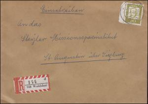 360y Bedeudente Deutsche 90 Pf. Oppenheimer Ranstück EF R-Brief WALDSHUT 13.8.65