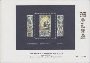 Malta: Flämische Wandteppich Sonderdruck vom Block zur Ausstellung London 1980