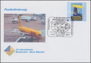 Schmuck-Brief 14. Briefmarken-Börse München, SSt MÜNCHEN Postbeförderung 3.3.11