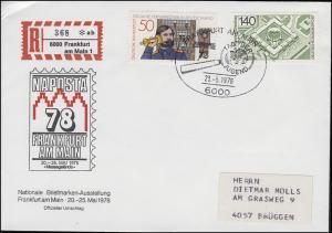 NAPOSTA 1978 Schmuck-Brief gedruckter R-Zettel MiF 921+947 SSt FRANKFURT 23.5.78