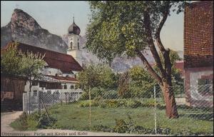 Ansichtskarte Partie mit Kirche und Köfel, OBERAMMERGAU-Passionsspiele 18.9.10