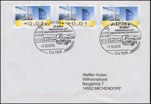 ATM-Brief mit SSt Paketzentrum und Internationale Frachtstation LEIPZIG 3.10.15