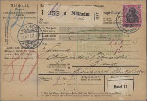 93I Germania 80 Pf. EF Auslands-Paketlkarte MÜLHEIM / RHEIN 14.6.13 nach Genf